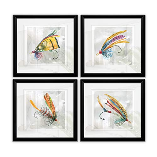 Renditions Gallery Summer Fly Hook Collection Prints 4 Panels Set Decoration Modern Painting Framed Wall Art for Family Living Office Room Bedroom, 15X15 Black -