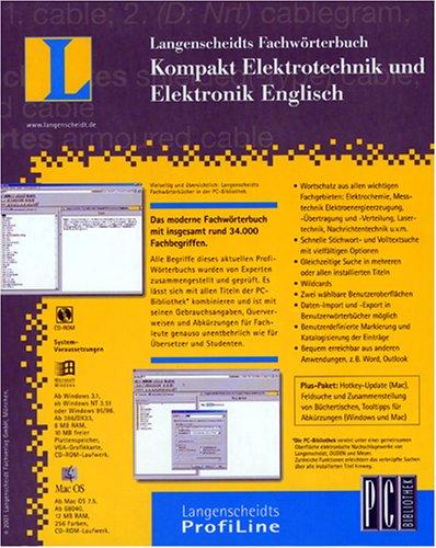 Fachwörterbuch Kompakt 2.1. Elektrotechnik und Elektronik. Englisch. CD-ROM für Windows ab 95/MacOS ab 7.5: Englisch - Deutsch / Deutsch - Englisch. Aktueller Fachwortschatz mit insgesamt rund 34.000 Fachbegriffen. Schnelle Stichwort und Volltextsuche. Benutzerwörterbuch. Für Windows und Mac OS. Verknüpfbar mit allen Titel der PC-Bibliothek
