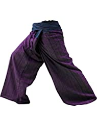 2 Tone Thai Fisherman Pants Yoga Trousers Free Size Cotton Blue and Maroon by BestThaiComplex