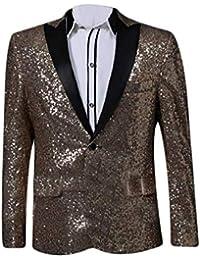 Blazer Men Coat Blazer Elegante Smoking De La Boda para Ropa Boda Slim Fit  con Lentejuelas Chaqueta De Traje De Los Hombres De La… 1cff9a993e07
