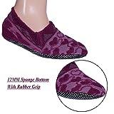 Footmate Unisex Anti Slip Slipper Socks; 12MM Sponge Bottom With Rubber Grip (Small, Lavender)