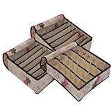#4: EasyHome Set of 3 Foldable Drawer Dividers, Storage Boxes for Clothing, Underwear, Bra & Socks with Cover (Beige Floral)