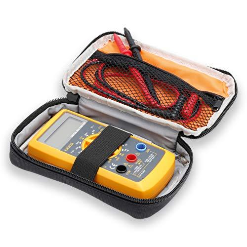 Hama Digital Multimeter mit passender Tasche (Spannungsmesser, Stromprüfer, Widerstand, Strommessgerät) schwarz/gelb