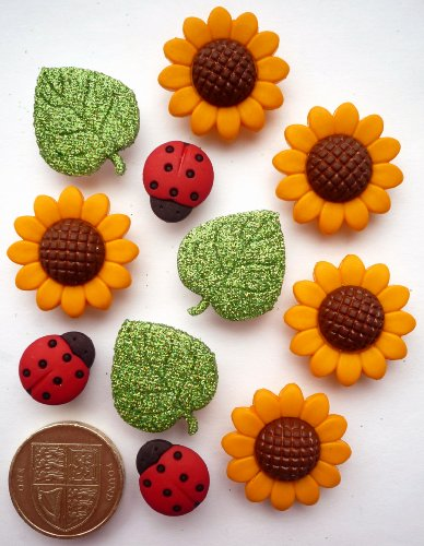 Price comparison product image Summer Garden - Novelty Craft Buttons & Embellishments by Dress It Up Sunflower