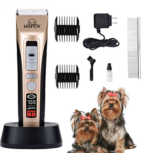 GOFUN Pet Grooming Clippers, Professional Dog Clippers Cat Grooming Clippers for Thick Hair Dogs, Cats and Horses