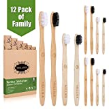 12pcs Famille Brosse à Dents en Bambou Biodégradable Écologique Végétalien Brosse à Dents en Bois pour Enfants et Adultes