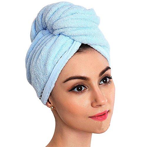 langes Haar, 100% reine Baumwolle und Leichtgewichtler schnelles trockenes Haar-Kappen-Haar-trocknender Twist-Kopf-Verpackungs-Tuch Bad-Kopf-Verpackungs-Turban-erstklassiges absorbierendes Tuch (Blau) (Einfach Pinup Haar)