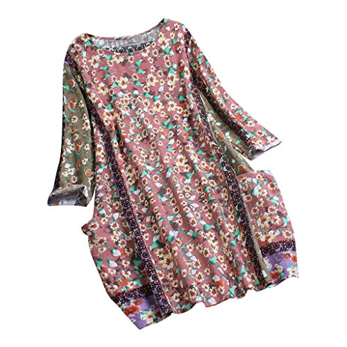 Kneris Bluse Damen Lange Ärmel Große Größen Jahrgang Blumendruck T-Shirt Oberteile Mit Taschen (Lange Samt-tunika Ärmel)