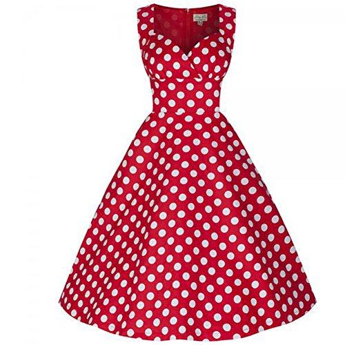 WintCO Damen Audrey Hepburn Stil Rockabilly Kleid mit Punkte Retro Abendkleid Swing Evening Dress Aermellos Wrapped Tanzkleid Rot