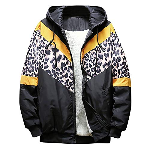 Clearance Sale [S-3XL] ODRD Hoodie Männer Sweatshirt Herren Leopard Zipper Outwear Sweatjacke Sweater Parka Cardigan Lässige Mantel Kapuzenpulli Pulli Pullover Langarmshirts Jacke Hooded Party Walking (Leopard Pullover Hoodie)