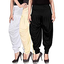 Culture the Dignity Womens Lycra Dhoti Pants-WHITE-BEIGE-BLACK-FREESIZE - Combo Pack of 3