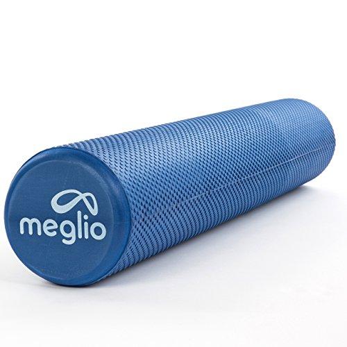 45cm / 90cm – Schaumstoffrolle | Faszienrolle | Yoga Rolle für Selbstmassagen – blau/schwarz/lila – perfekt geeignet für Fitness, Yoga, Pilates – mit Übungs-Guide (Blau (90 x 15cm)) (Erdnüsse Fußball)