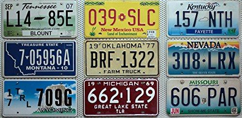 9 USA Kennzeichen Set / Lot # US Nummernschilder KENTUCKY + MICHIGAN + MISSOURI + MONTANA + NEVADA + NEW MEXICO + OKLAHOMA + TENNESSEE + WYOMING Blechschilder # KFZ-Schilder