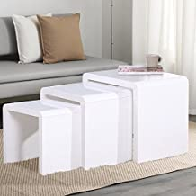 Voilamart Nest of 3 Tables High Gloss Wood Nesting Tables White Coffee Table Multifunctional Living Room Side End Table with Screw Covers
