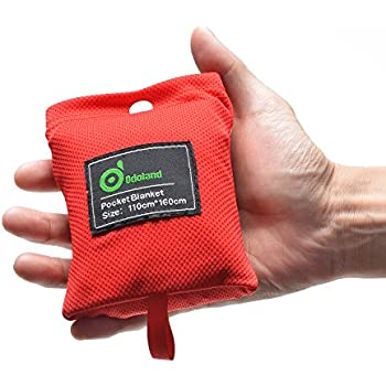 Odoland Pocket Size water resistant Picnic Blanket Camping Lightweight, Pocket Blanket for Outdoor Camping, Travel, Hiking, Picnic (Red-small)