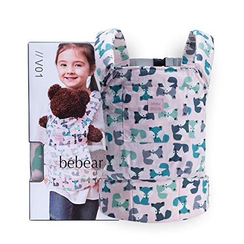 Bebamour Portabebés de algodón para niñas Accesorios para muñecos de bebé Juguetes para niños Muñeca Bolsa 3 en 1 Portabebés Sling Muñeca Baby Garabatos, Gris Púrpura con Ovejas (Rosado)