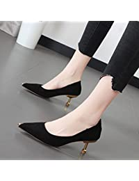 Xue Qiqi Tacones de satén chica fina con punta de metal ligero de 6cm de puerto único salvaje calzados femeninos...