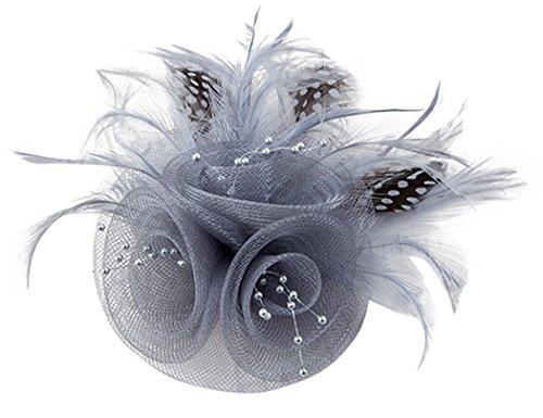 Kapmore Cappello delle signore delle donne Fascinator con spilla partito Pin Derby piuma Wedding Fascinator (Piccolo Cappello Pin)