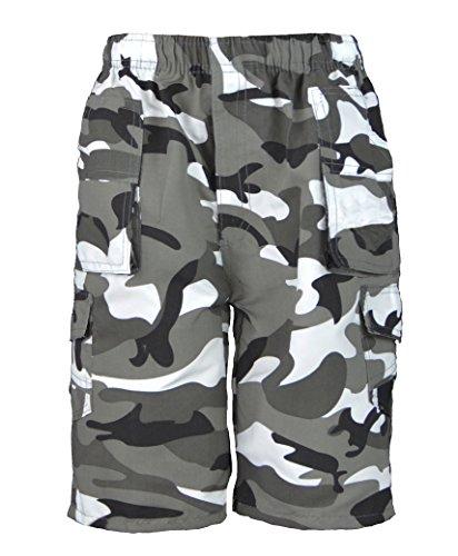 TARNUNG viele Taschen Shorts Jungen Armee Aufdruck Cargo Combat & Gratis Geschenk LotMart Stift pro Päckchen - Tarnung grau, 11-12 Years (Elf Shorts)