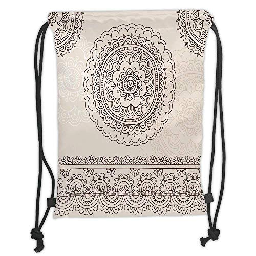 PPOOia Drawstring Backpacks Bags,Henna,Floral Tattoo Design Inspirations from Asian Civilizations Doodle Style Soft Colored Decorative,Brown Cream Soft Satin,5 Liter Capacity,Adjustable S -