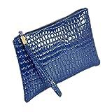 Damen Krokodil-Muster Geldbörse Handtasche DAY.LIN Frauen Krokodilleder Clutch Handtasche Tasche Geldbörse (Blau)
