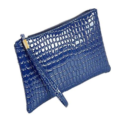 DAY.LIN Damen Krokodil-Muster Geldbörse Handtasche Frauen Krokodilleder Clutch Handtasche Tasche Geldbörse (Blau) -