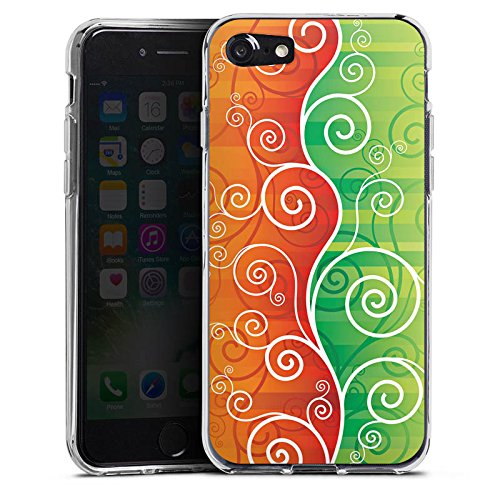 Apple iPhone X Silikon Hülle Case Schutzhülle Floral Schnörkel Ranken Silikon Case transparent