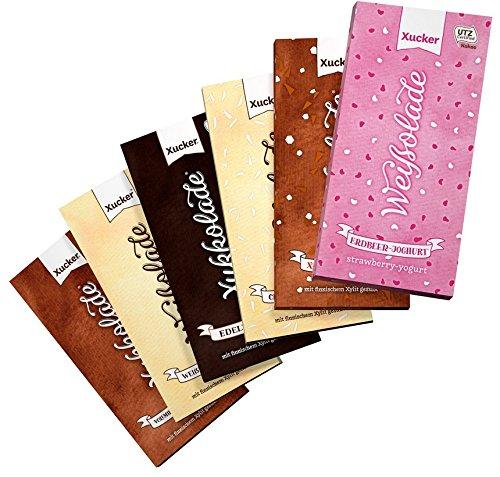 xucker-xylit-schokolade-probierset-mit-erdbeer-joghurt-6-x-100-g-tafel