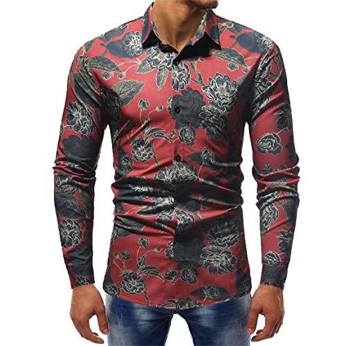 Moonuy Männer Langarm-Shirt Boy Fashion Tops 3D Gedruckt Tragen Bluse Casual Full Sleeved Slim Shirts Umlegekragen Bluse