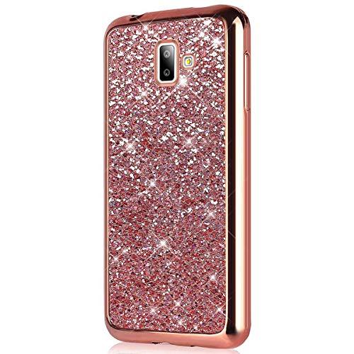 Herbests Kompatibel mit Samsung Galaxy J6 Plus 2018 Hülle Glitzer Glitzer Glänzend Kristall Strass Diamant Überzug Silikon Schutzhülle Handyhülle Tasche Bumper Case Ultradünn Cover,Rose Gold