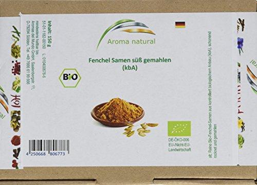 Aroma natural Fenchel Samen süß gemahlen Bio, 2er Pack (2 x 150 g)