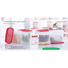 Tupperware Within Reach Canister   800 ml Polypropylene Food Storage Pack of 4, Red
