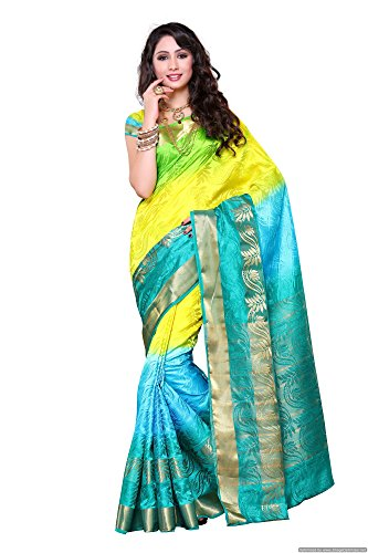 Mimosa Women\'s Traditional Art Silk Saree Kanchipuram ikkat style, color :Multy(3234-2093-3D-SAFF)