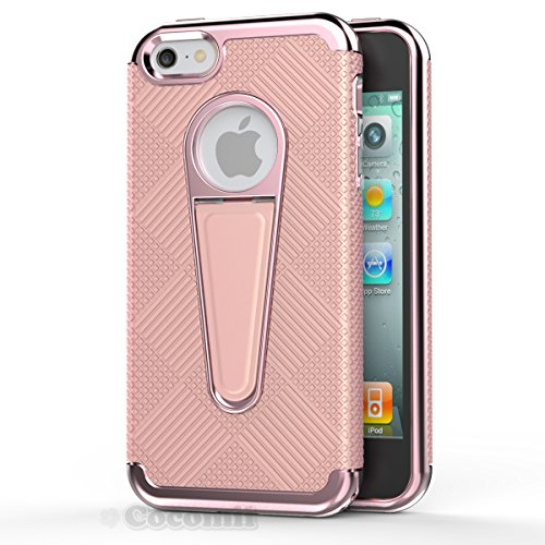 iPhone SE / 5S / 5 Hülle, Cocomii Angel Armor NEW [Heavy Duty] Premium Tactical Grip Kickstand Shockproof Hard Bumper Shell [Military Defender] Full Body Dual Layer Rugged Cover Case Schutzhülle Apple Full Rose Gold