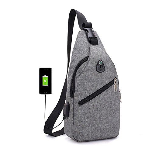 (LITTHING Brust-Rucksack mit USB Brusttasche Leicht Sling Rucksack Schultertasche Zum für Damen und Herren Anti-diebstahl Daypack mit Verstellbarem Schultergurt Wandern Reisen Sport (Grau))