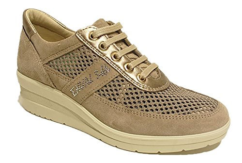 7957 VISONE/BEIGE Scarpa donna sneaker Enval soft pelle made in Italy Beige