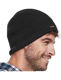 0d77515f5c9 LETHMIK Fleece Lined Beanie Hat Mens Winter Solid Color Warm Knit Ski Skull  Cap Black