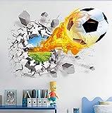 Fútbol roto etiqueta de la pared para los niños sala de estar decoración deportiva mural pegatinas de pared decoración del hogar tatuajes de papel tapiz 3D