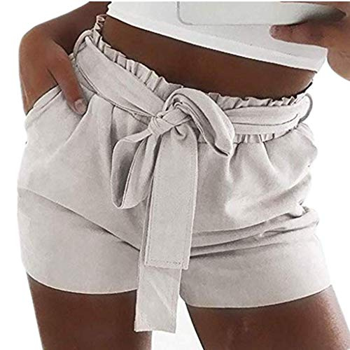 Vectry Damen Hosen Shorts Sommer Hotpants Bermudas Ultra Jeans Leggings Strand Laufgymnastik Yoga Der Sporthosen Schlafanzughosen - Einfarbig Mid Waist Loose Drawstring Bow Waist Shorts (Silber Pailletten-shorts High-waisted)