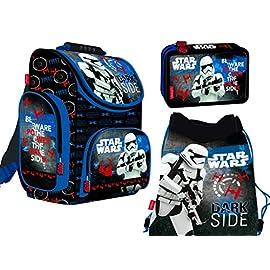 3-teiliges-Schulranzenset-Star-Wars-Schulranzen-2-fache-gefllte-Federtasche-Schuhbeutel-fr-Jungen-Star-Wars-Motiv