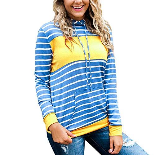 Preisvergleich Produktbild Sannysis Damen Pullover Langarmshirt Elegant Frauen Gestreifter Kapuzenpullover Casual Langarm Sweatshirts Bluse Pullover mit Kapuze