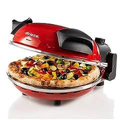 Idea Regalo - Ariete 909 pizza in 4 minuti, Forno per pizza, 400 gradi, Cuoce in 4', Piastra in pietra refrattaria 33 cm di diametro, 1200 watt, Timer 30', Rosso