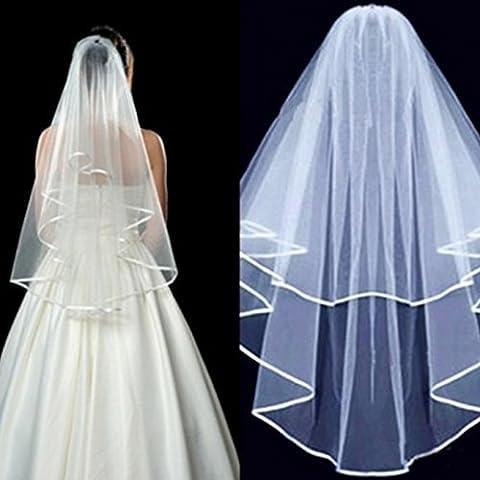uooom Fashion 2Schicht Hen Party Hochzeit Bridal Veil Spitze Ellenbogen Länge Braut Schleier, A-White