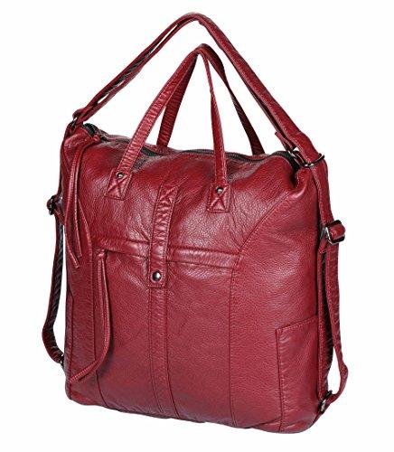 Groß Schaffell Leder Laptop Tragetasche ANNA QUEEN Frau 15,6 Zoll Schulter Tasche Rucksack Handtaschen Geldbörse Crossbody Tasche Prime Tag (Wein Rot-BN2)