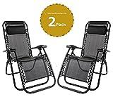 Set of 2 Heavy Duty Textoline Zero Gravity Chairs Garden Outdoor Patio Sunloungers