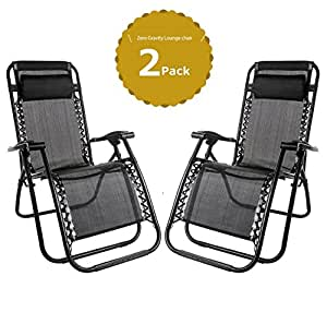 Set of 2 Heavy Duty Textoline Zero Gravity Chairs Garden Outdoor Patio Sunloungers Folding Reclining Chairs