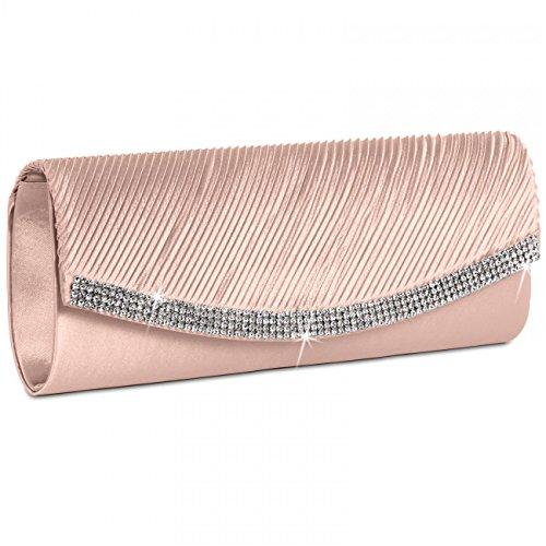 Caspar ta291 donna pochette in raso con strass, colore:rosa