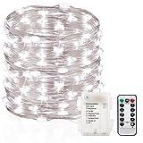GDEALER 10M 100er LED Lichterkette 8 Modi Außenbeleuchtung Batteriebetrieben Kupferdraht Wasserdicht IP65 mit Fernbedienung für Outdoor, Innenbeleuchtung, Garten, Hochzeit, Party, Weihnacht (Kaltweiß)