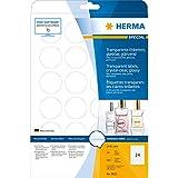 Herma 8023 Etiketten (A4 glänzend rund Folie, 40 mm) 600 Stück transparent glasklar