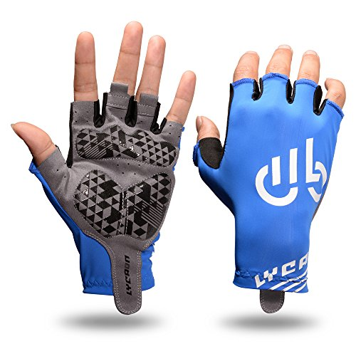LYCAON Cycling Gloves Gel-Padded Bicycle Gloves Non-Slip Bike Gloves Breathable Riding Biking Gloves Folding BMX Road Bike Cruiser Mountain Bike MTB Biker Scooter Gloves Outdoor Cycling Apparel Clothing Man Women (Blue, L)